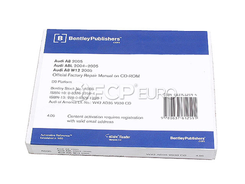 Audi Repair Manual On CD-ROM(A8 S8) - Bentley AD35