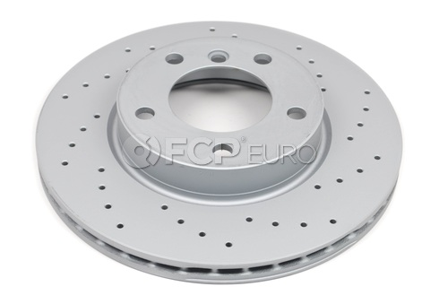 BMW Cross Drilled Disc Brake Rotor Front (Z-Coated) - Zimmermann 34116855153