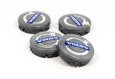 Volvo Wheel Center Cap Set (Silver Cap Chrome Trim) Genuine Volvo 30671515