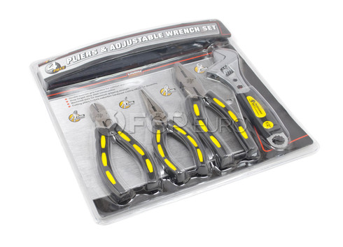 4 Piece Pliers and Adjustable Wrench Set - Performance Tool W1701