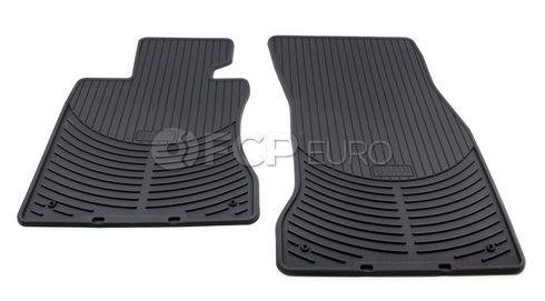 BMW Rubber Floor Mats Set of 2 Black Front (E60) - Genuine BMW 82550302997