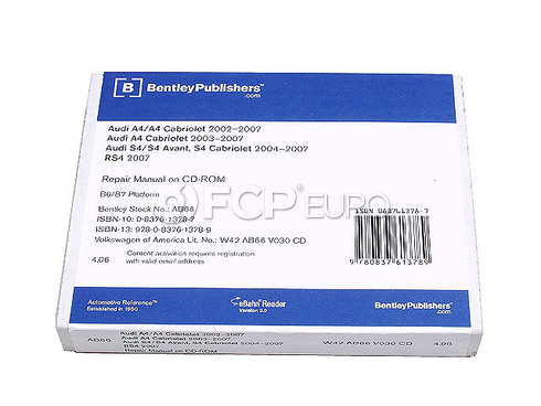 Audi Repair Manual On CD-ROM (A4 S4 RS4) - Bentley AB66
