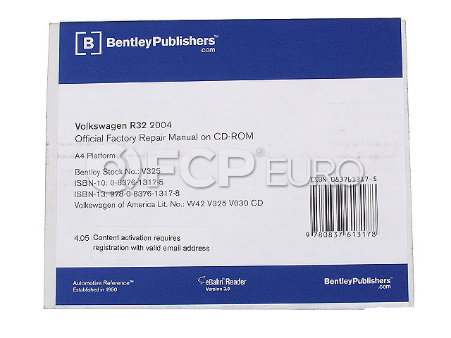 VW Repair Manual On CD-ROM - Bentley V325