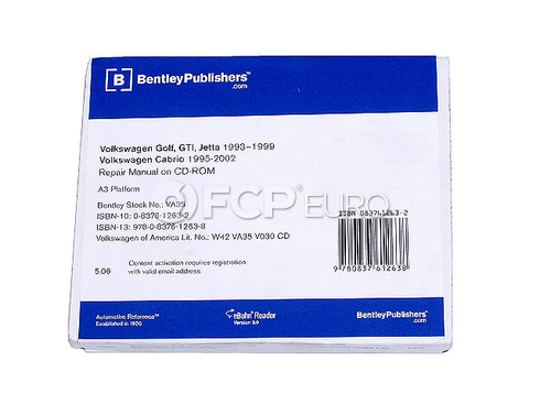 VW CD-ROM Repair Manual (Jetta Golf Cabrio) - Bentley VW8055000