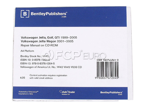 VW Repair Manual On CD-ROM - Bentley VA45