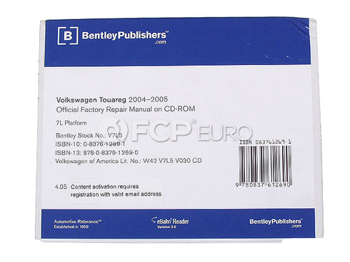VW Repair Manual On CD-ROM - Bentley V7L5