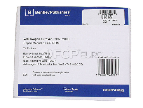 VW Repair Manual On CD-ROM (EuroVan) - Bentley VT45