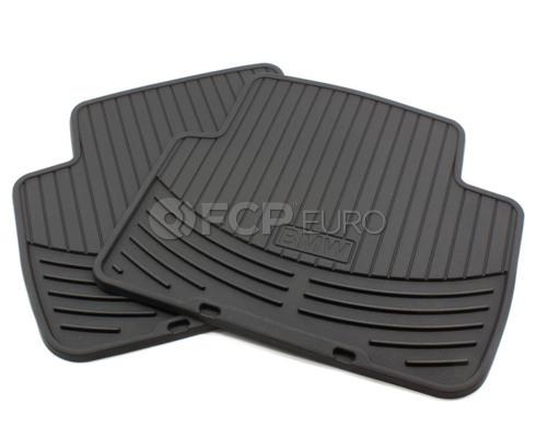 BMW Rubber Floor Mats Black Rear (E46) - Genuine 82550136373