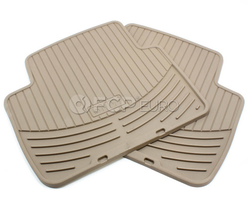 BMW Rubber Floor Mats Beige Rear (E46) - Genuine 82550138288