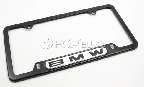 BMW License Plate Frame (Black Stainless) - Genuine BMW 82120010398