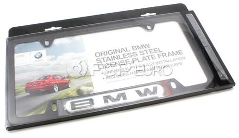 BMW License Plate Frame (Black Stainless) - Genuine BMW 82120010398