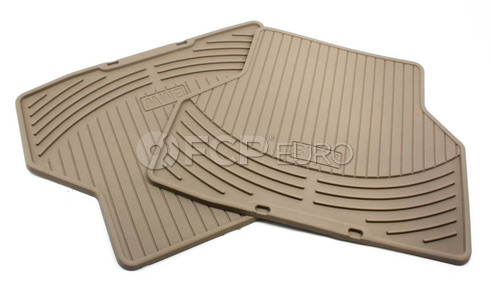 BMW Rubber Floor Mats Set of 2 Beige Rear (E60) - Genuine BMW 82550305180