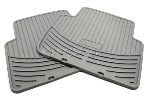 BMW Rubber Floor Mats Grey Rear (E46) - Genuine 82550138290