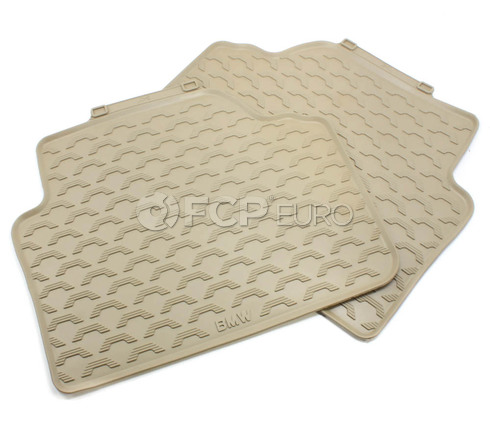 BMW Rubber Floor Mats Beige Rear (E90) - Genuine BMW 51470427560