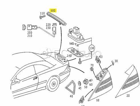 Mercedes Third Brake Lamp Assembly (CL500 CL600) - Genuine Mercedes 2158200456