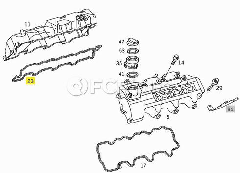 Mercedes Valve Cover Gasket Right (E320 ML320) - Genuine Mercedes 1120160321