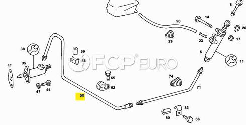 Mercedes Slave Cylinder Clutch Line (190E) - Genuine Mercedes 1242950513