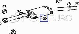 Mercedes Exhaust Pipe Center Resonator (380SEL 500SEL) - Genuine Mercedes 1264901115