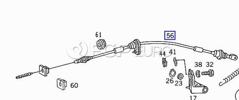 Mercedes Accelerator Cable (300D) - Genuine Mercedes 1243002830