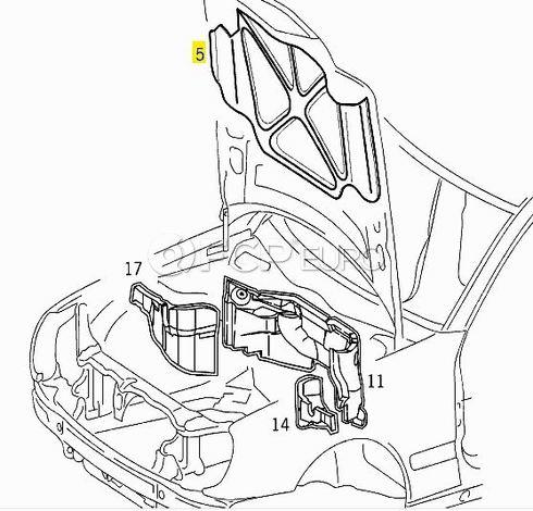 Mercedes Hood Insulation Pad - Mercedes 2106820126