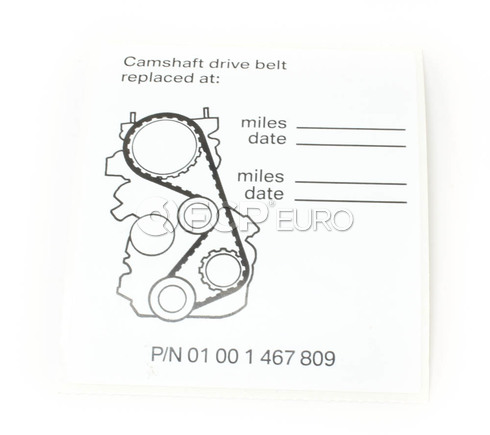 BMW Timing Belt Service Label - Genuine BMW 01001467809