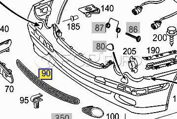 Mercedes Bumper Grille Mesh Center  (C230) - Mercedes 2038851353