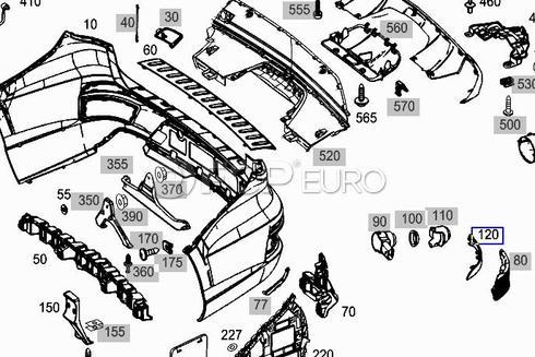 Mercedes Bumper Reflector Rear  (GL450) - Genuine Mercedes 1668200374