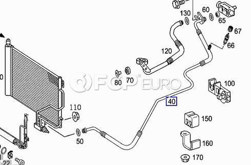 Mercedes A/C Refrigerant Liquid Hose (CLK500 CLK55 AMG) - Genuine Mercedes 2098300015