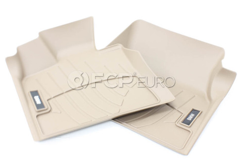 BMW All Weather Floor Liners Front - Beige (F15) - Genuine BMW 82112285516