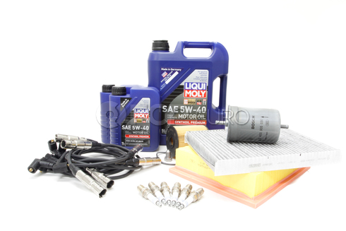 VW Tune Up Kit with 5W40 Synthetic Oil - Bosch / Liqui Moly 524584