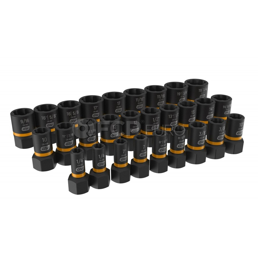 """28 Pc. 1/4"""" & 3/8"""" Drive Bolt Biter Impact Extraction Socket Set - Gearwrench 84784"""