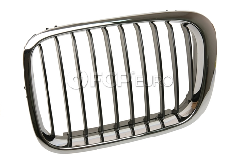 BMW Kidney Grille Left (Black Slits/Chrome Ring) - EZ 51138208487
