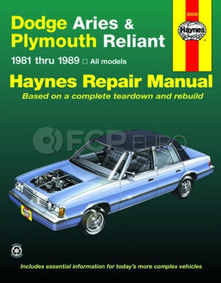 Dodge Plymouth Haynes Repair Manual (Aries Reliant) - Haynes HAY-723